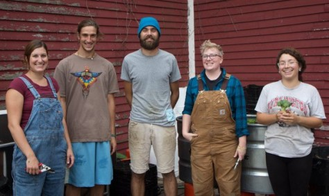 A few members of our 2014 farm crew with farm managers Bill and Aaron. (left to right) Rachel, Braeden, Bill, Aaron, and Gina
